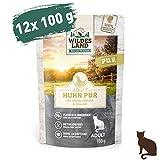 Wildes Land - Nassfutter für Katzen - Nr. 3 Huhn PUR - 12 x 100 g - Getreidefrei - Extra viel Fleisch - Beste Akzeptanz und Verträglichkeit