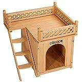 Deuba Katzenhaus Holz zweistöckig Terrasse Indoor Outdoor 64,5x54,5x53,5cm Katzenhütte Katzenhöhle