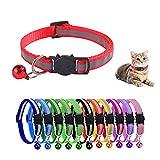 Reflektierende Katzenhalsbänder, 12 Stück Haustier Halsband, Katzenhalsbänder mit Glöckchen, Katzenhalsband Verstellbar, Welpenhalsbänder, Katzenhalsband Sicherheitsverschluss, für alle Katzen Hunde