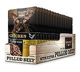 Leonardo Frischebeutel [16x70g Chicken mit Fleischstreifen] Pulled Beef   Getreidefreies Nassfutter für Katzen   Alleinfuttermittel Katzenfutter