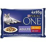 Purina One Schliff in Sauce, Mahlzeit für ausgewachsene Katzen, Hähnchen & Rind, 12 (4 x 85 g)