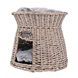 UNUS Katzenkörbchen als Katzenturm aus Rattan in Grau mit weichem Kissen