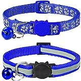 Taglory Reflektierend Katzenhalsband mit Sicherheitsverschluss und Glöckchen, 2-Stück Verstellbar Halsband Katze Kitten, 19-32cm Dunkelblau
