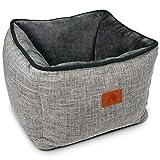 SCHLITZOHR Katzenbett Timmy eckig   waschbares Bettchen für Katzen & Hunde in edlem grau   inklusive extra gemütlichem Wendekissen