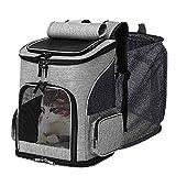 Yonphy Haustier Rucksäcke für Hunde Katzen Hunderucksack Katzenrucksack, Atmungsaktiv, Faltbar, Tragbare und Erweiterbare Haustier Rucksack zum Wandern, Reisen(maximale Last 7kg)