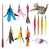 Katzenspielzeug mit Federn,12 Stück Interaktives Kätzchen Spielzeug für Innen Katzen,1 Skalierbar Stangen Katzenangel und 11 Ersatz Federn Maus Fisch mit Glocken,Feder Teaser Spielzeug für Kätzchen