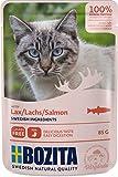 BOZITA Nassfutter Häppchen in Soße mit Lachs 12x85g Pouch Portionsbeutel - getreidefrei - für erwachsene Katzen