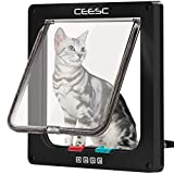 CEESC Große Katzentür (Außengröße 27,9 x 24,9 cm), 4-Wege-verschließbare Katzentür für Fenster & Schiebetür, wetterfeste Katzenklappe Tür für Katzen & Hunde mit Umfang  63 cm