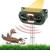 Joycabin Katzenschreck Tiervertreiber, Ultraschall Abwehr mit Jagd & Wegfahren Sound-Effekt, Solar & USB Ultraschall Katzenschreck wasserdichte Tiervertreiber mit LED-Licht für Vogel Katze Fuchs