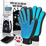 LÖWENKÖNIG® Bürstenhandschuh Set für Katzen [verbesserte Version 2021] Fellpflege-Handschuh I Massage-Bürste, Katzenhaare I Katzen-Zubehör