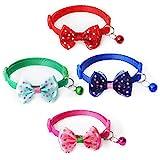 4 Stück Haustierhalsbänder Katzenhalsband Kätzchenhalsbänder mit Glöckchen Für kleinen Katze&Hund