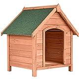 TecTake 403229 Robuste Hundehütte aus lasiertem Kiefernholz, Spitzdach zum Aufklappen und mit witterungsbeständiger Bitumenoberfläche, erhöht Bodenplatte zur besseren Luftzirkulation