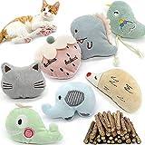 Katzenminze Spielzeug,katzenminze kissen,Katzenminze Plüsch Spielzeug, Matatabi Stick Katze,Katzenspielzeug für Katze zu Spielen, Beißen, Kauen(7 PCS Katzenminze-Spielzeug+30 PCS Katzenminze Stick)