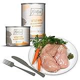 MjAMjAM - Premium Nassfutter für Katzen - saftiges Huhn an leckeren Möhrchen, 6er Pack (6 x 400 g), getreidefrei mit extra viel Fleisch