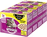 Whiskas 1 + Creamy Soups Katzenfutter – Geflügelauswahl – Hochwertiges Nassfutter – 48 Portionsbeutel à 85g