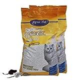 White Cat 2 x 15 L Katzenstreu mit Babypuder Duft Klumpstreu staubarm + 2 Mäuse