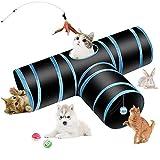 Hyselene Katzentunnel Katzenspielzeug, Tunnel für Katze, Welpe, Kitty, Kätzchen, Kaninchen, 3-Wege Pet Play Tunnel Tube mit Ball, Glocke und Katzenstock