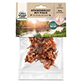 Wildes Land - Hühnerbrust mit Fisch - 70 g - Kausnack für Katzen - Natürlich belohnen - getreidefrei - Frisches, schonend getrocknetes Fleisch - Hoher Fleischanteil - Fettarm