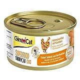 GimCat Superfood ShinyCat Duo Hühnchen mit Karotten - Katzenfutter mit saftigem Filet ohne Zuckerzusatz für ausgewachsene Katzen - 48 Dosen (48 x 70 g)