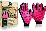 NELADE® Fellpflege-Handschuh als Fellbürste für Katzen-Haare, Hunde-Haare & Pferde - nimmt lose Haare zuverlässig auf & angenehmer Massageeffekt - Bürste Zubehör Set für kurzhaar & langhaar