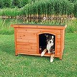 Trixie 39552 natura Hundehütte Classic mit Flachdach, M–L: 104 × 72 × 68 cm, braun