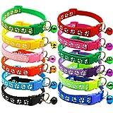 TAFAFTL 12 Stück Katzenhalsband Welpenhalsbänder mit Glöckchen Sicherheitsschnalle Verstellbar Süß Haustier Halsband 21-34cm für Mittlere Hunde, Gepolstert Hundehalsbänder (12 Farben)