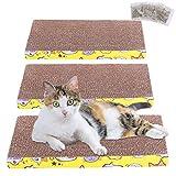 FUQUN Katzenkratzbrett 3er Set Pappe Katzen Kratzmatte mit Katzenminze Kratzbrett für Kätzchen Kitty,Wellpappe Kratzmatten, Kratzpappe für Katzen