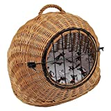 Katzen Transportkorb aus Weide mit Kissen Größe S 45x35x44 cm braun Natur abnehmbares Metall-Gitter