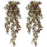 SPTwj 2 Pack Künstliche Ivy Vine Künstliche Pflanzen Gefälschte Ivy Hanging Home Office Outdoor Innendekor Rot
