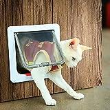 HAMON Hundeklappe Katzentür Hundetür Katzentür Katzenklappe Wege Katzenklappe 19,7*19*2cm katzenklappe Innentür für Katzen und Kleine Hunde Installieren Leicht mit Teleskoprahmen (S, Weiß)